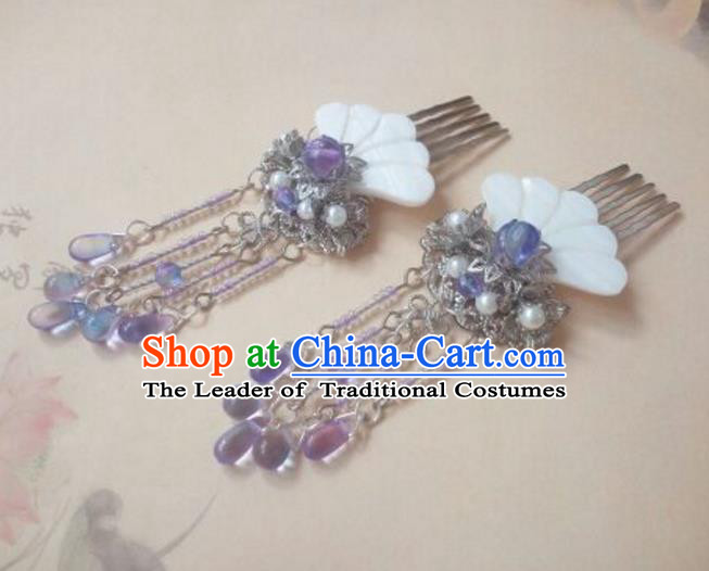 Traditional Handmade Chinese Ancient Classical Palace Lady Purple Tassel Hair Accessories Hair Jewellery, Hair Fascinators Hairpins for Women