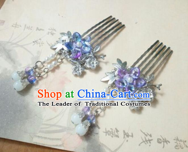 Traditional Handmade Chinese Ancient Classical Palace Lady Hair Accessories Tassel Hair Comb, Hair Fascinators Blue Hairpins for Women