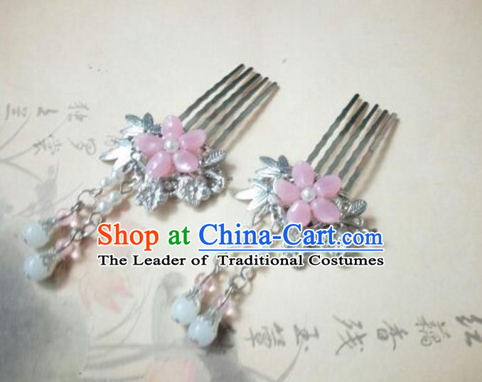 Traditional Handmade Chinese Ancient Classical Palace Lady Hair Accessories Pink Tassel Hair Comb, Hair Fascinators Hairpins for Women