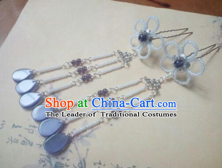 Traditional Handmade Chinese Ancient Classical Palace Lady Hair Accessories Hanfu Beads Tassel Hair Stick, Hair Fascinators Hairpins for Women