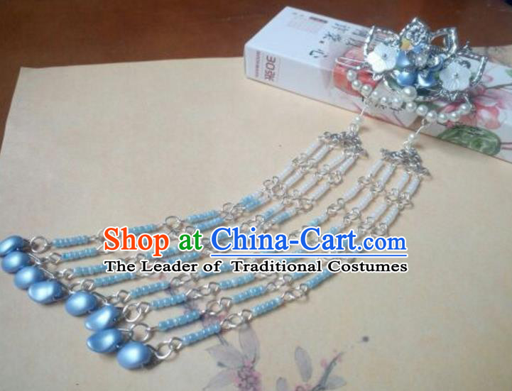 Traditional Handmade Chinese Ancient Classical Palace Lady Hair Accessories Hanfu Blue Beads Hair Comb, Hair Fascinators Hairpins for Women