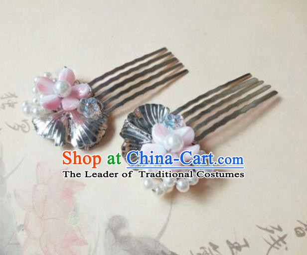 Traditional Handmade Chinese Ancient Classical Hanfu Hair Accessories, Princess Hairpins Hair Comb Headwear for Women