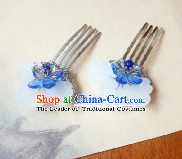 Traditional Handmade Chinese Ancient Classical Hanfu Hair Accessories, Princess Blue Flower Hairpins Hair Comb Headwear for Women