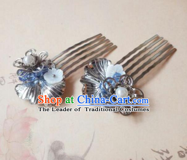 Traditional Handmade Chinese Ancient Classical Hanfu Hair Accessories Step Shake, Princess Hairpins Shell Hair Comb Headwear for Women