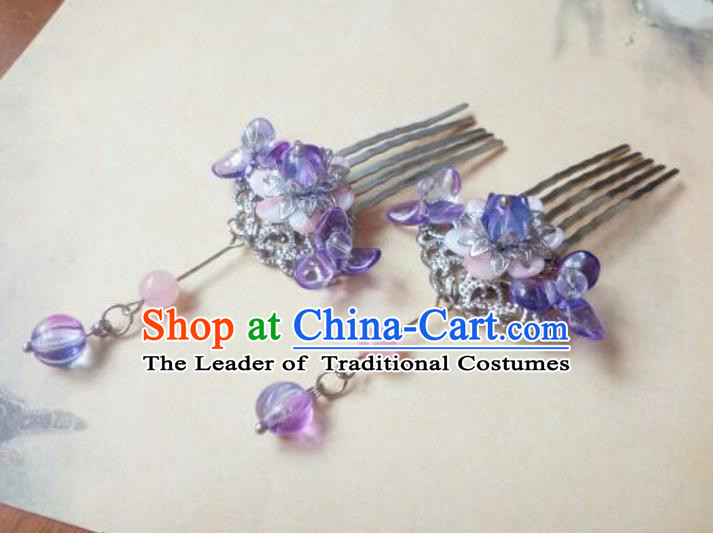 Traditional Handmade Chinese Ancient Classical Hanfu Hair Accessories Step Shake, Princess Purple Hairpins Hair Comb Headwear for Women