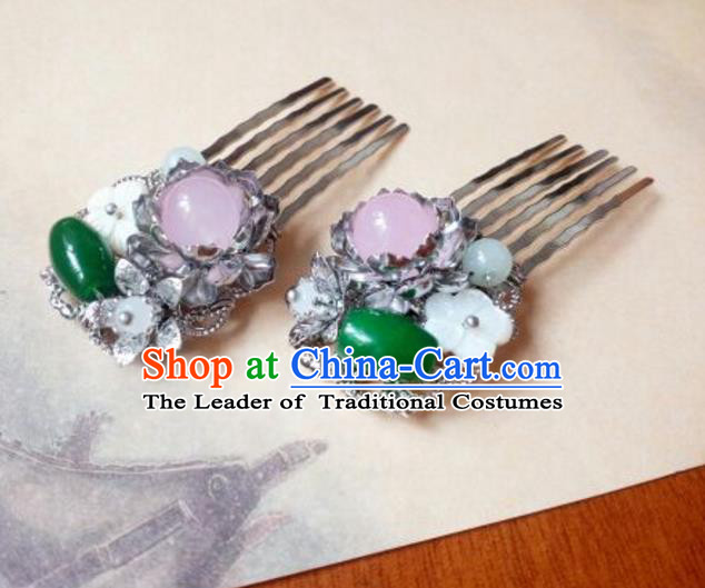 Traditional Handmade Chinese Ancient Classical Hanfu Hair Accessories Step Shake, Princess Hairpins Jade Hair Comb Headwear for Women