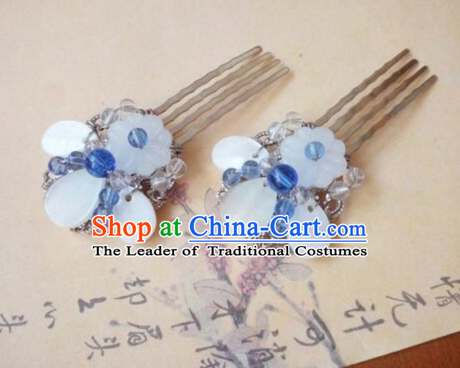 Traditional Handmade Chinese Ancient Classical Hanfu Hair Accessories Shell Hairpin, Princess Hairpins Hair Comb Headwear for Women