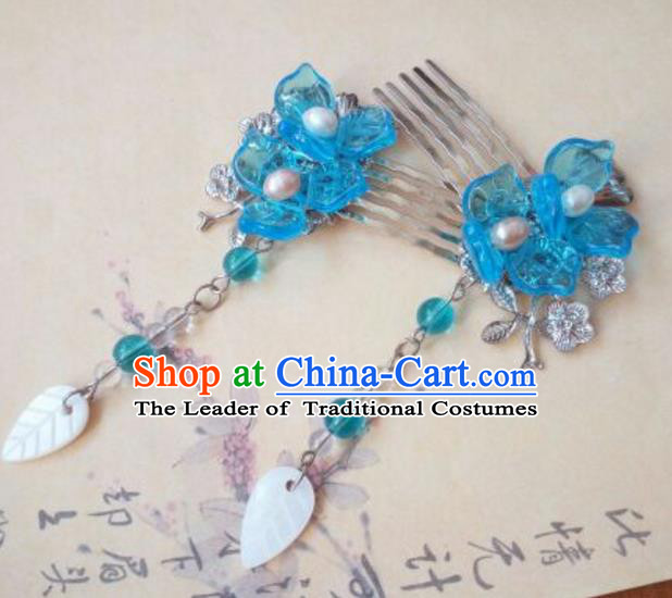 Traditional Handmade Chinese Ancient Classical Hanfu Hair Accessories Hair Comb, Princess Hairpins Blue Step Shake Headwear for Women