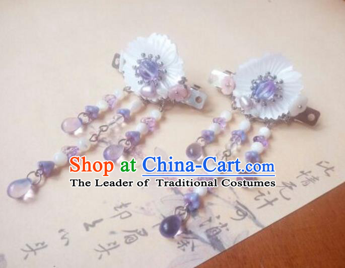 Traditional Handmade Chinese Ancient Classical Hanfu Hair Accessories Palace Lady Shell Flower Hair Claw, Princess Hairpins Hair Stick Headwear for Women