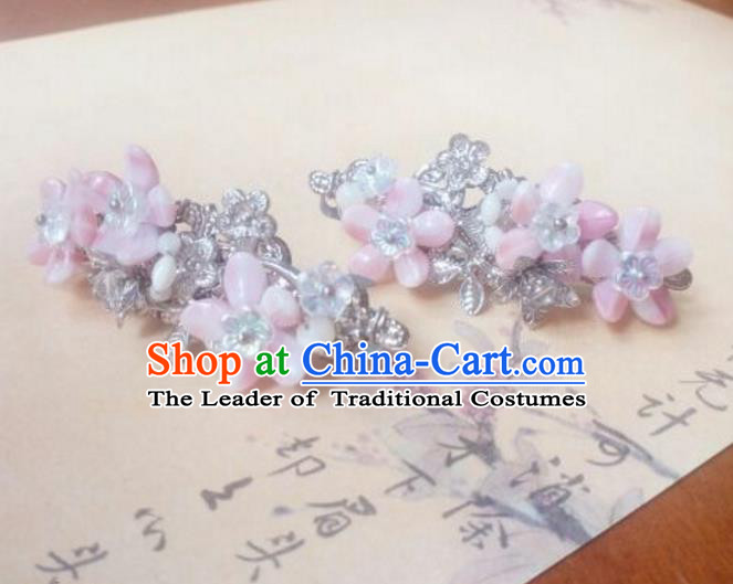 Traditional Handmade Chinese Ancient Classical Hanfu Hair Accessories Palace Lady Pink Hair Claw, Princess Hairpins Hair Stick Headwear for Women