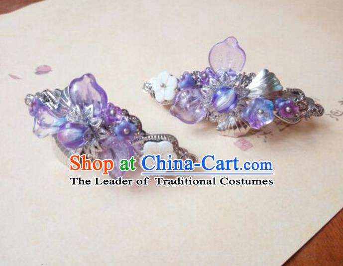 Traditional Handmade Chinese Ancient Classical Hanfu Hair Accessories Palace Lady Long Purple Hair Stick, Princess Hairpins Hair Claw Headwear for Women