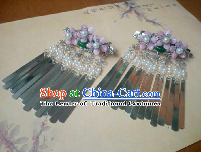 Traditional Handmade Chinese Ancient Classical Palace Lady Hair Accessories Hairpins Pink Flowers Tassel Hair Claw for Women