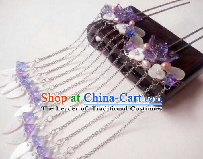 Traditional Handmade Chinese Ancient Classical Hair Accessories Tassel Shell Hairpin Purple Step Shake Headwear Hair Stick for Women
