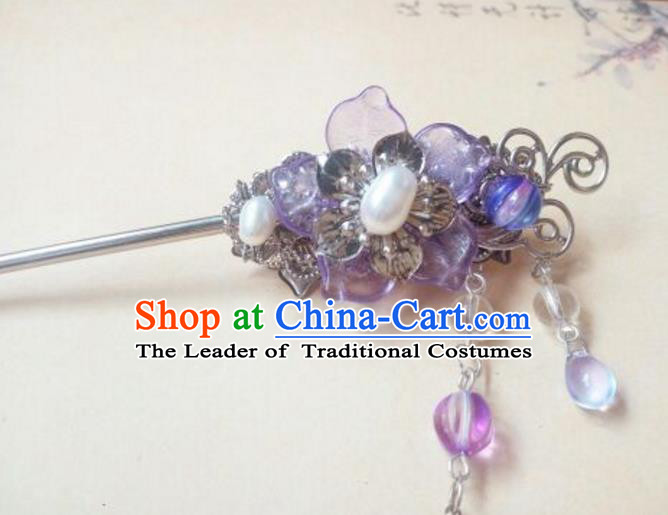 Traditional Handmade Chinese Ancient Classical Hair Accessories Hairpin Headwear Palace Lady Purple Hair Stick for Women