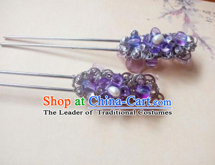 Traditional Handmade Chinese Ancient Classical Hair Accessories Pearl Hairpin Headwear Palace Lady Purple Hair Stick for Women