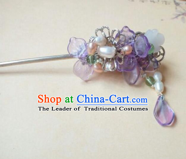 Traditional Handmade Chinese Ancient Classical Hair Accessories Coloured Glaze Hairpin Headwear Palace Lady Purple Hair Stick for Women