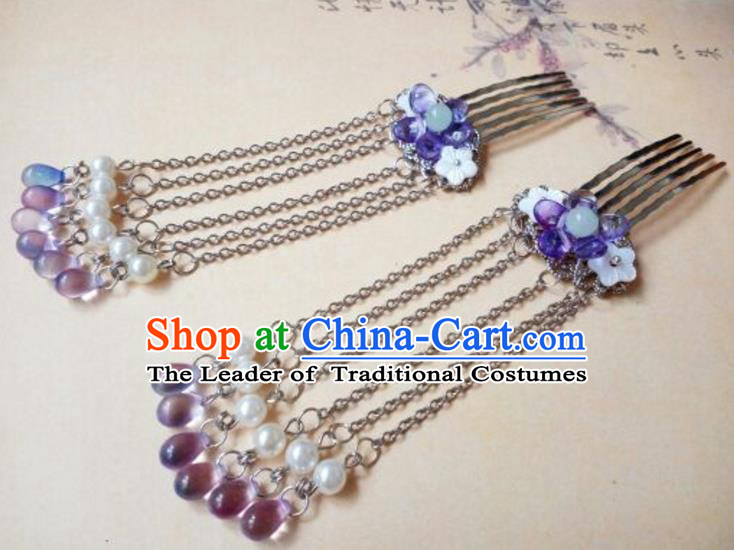 Traditional Handmade Chinese Ancient Classical Hair Accessories Purple Tassel Hair Comb for Women