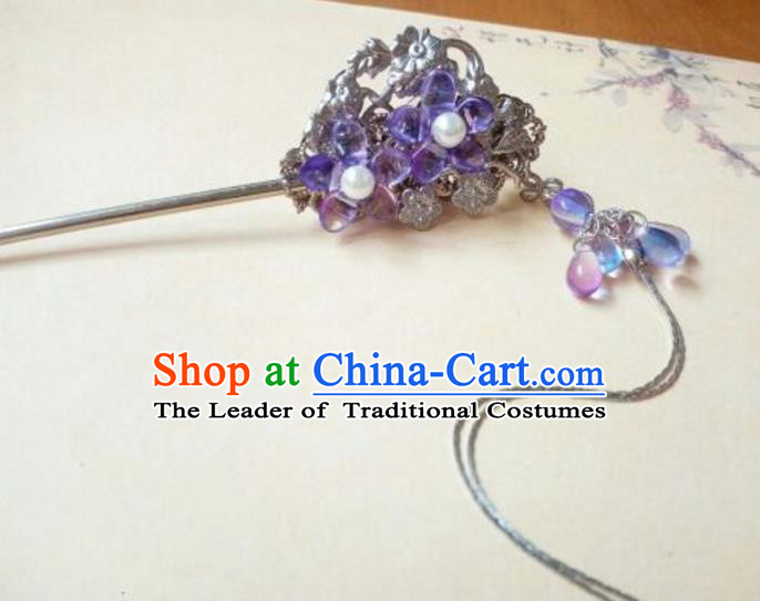 Traditional Handmade Chinese Ancient Classical Hair Accessories Purple Coloured Glaze Hairpins Tassel Step Shake for Women