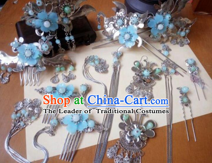Traditional Handmade Chinese Ancient Classical Hair Accessories Hairpins Complete Set Blue Flower Tassel Hair Comb for Women