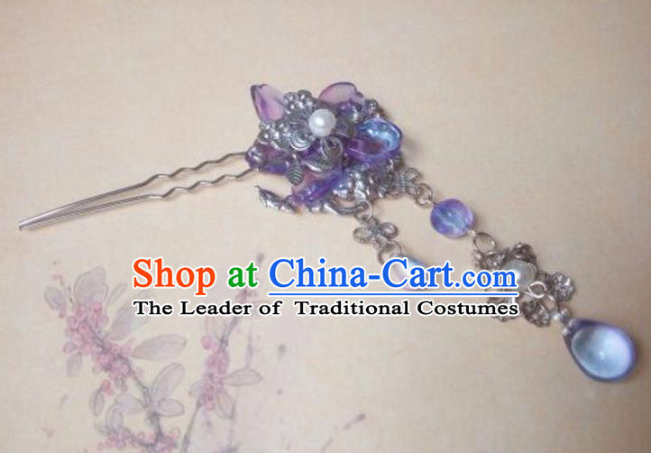 Traditional Handmade Chinese Ancient Classical Hair Accessories Hairpins Tassel Purple Step Shake for Women
