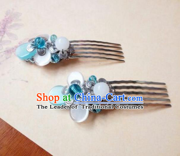 Traditional Handmade Chinese Ancient Classical Hair Accessories Hairpins Blue Hair Comb for Women