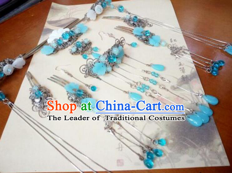 Traditional Handmade Chinese Ancient Classical Hair Accessories Complete Set Hairpins Blue Hair Comb Forehead Ornament for Women