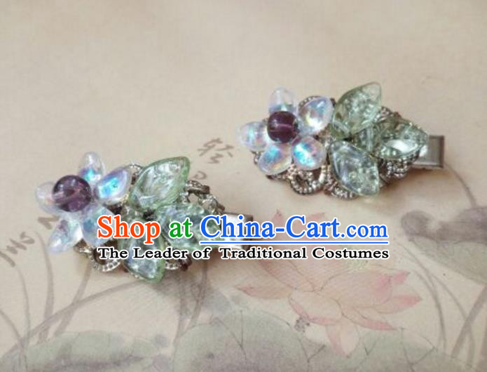 Traditional Handmade Chinese Ancient Classical Hair Accessories Coloured Glaze Hair Claw for Women