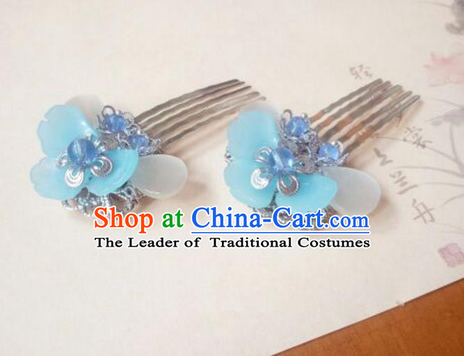 Traditional Handmade Chinese Ancient Classical Hair Accessories Hairpins Blue Hair Comb Headwear for Women