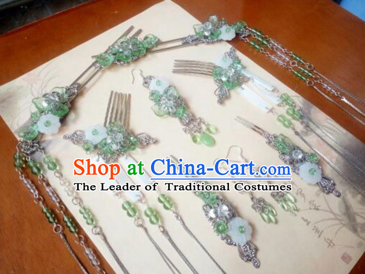 Traditional Handmade Chinese Ancient Classical Hair Accessories Complete Set, Palace Princess Hairpins Tassel Hair Comb Headwear for Women