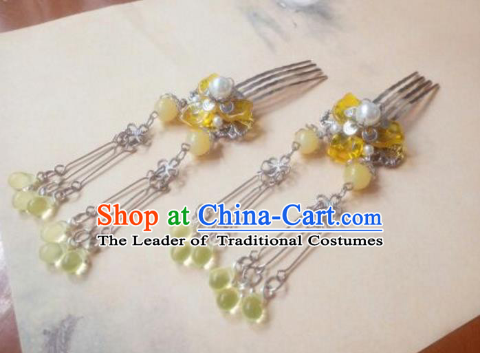 Traditional Handmade Chinese Ancient Classical Hair Accessories Yellow Bead Tassel Hair Comb Headwear for Women