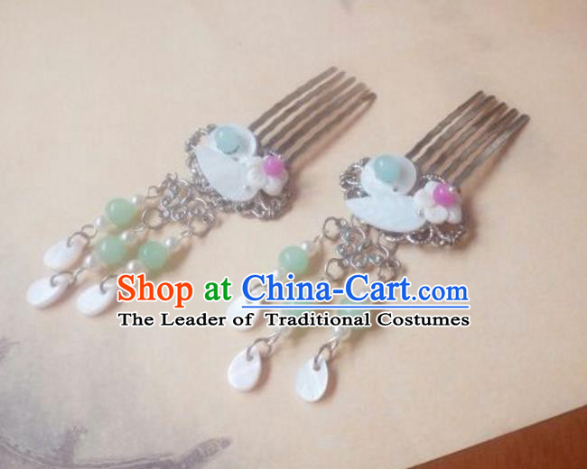 Traditional Handmade Chinese Ancient Classical Hair Accessories Shell Tassel Hair Comb Headwear for Women