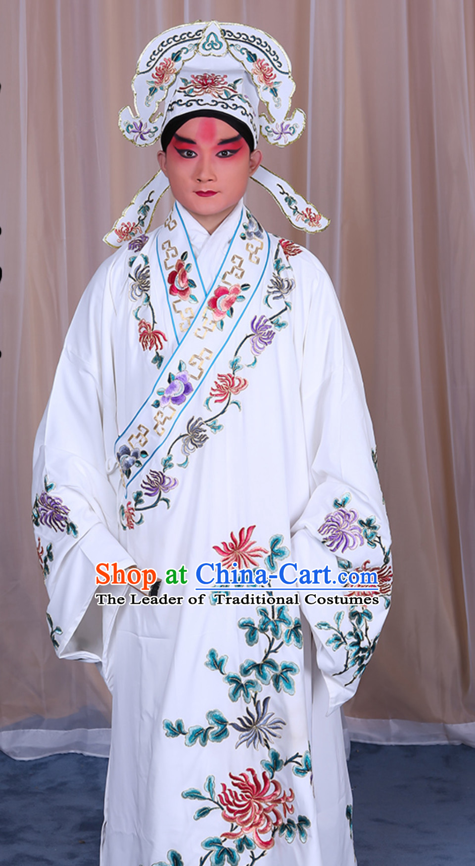 Ancient Chinese Opera Butterfly Love Liang Shanbo Clothing and Hat Complete Set