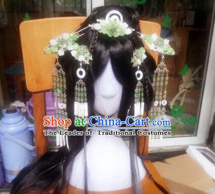 Traditional Handmade Chinese Ancient Classical Hanfu Hair Accessories Complete Set, Princess Green Tassel Hairpins Step Shake Headwear for Women