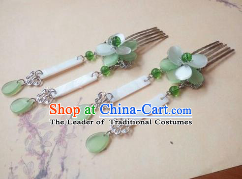 Traditional Handmade Chinese Ancient Classical Hanfu Hair Accessories, Princess Green Tassel Hairpins Hair Comb Headwear for Women