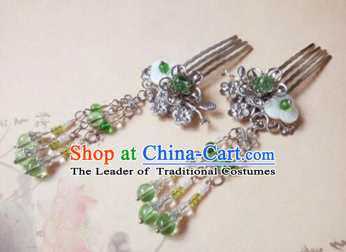 Traditional Handmade Chinese Ancient Classical Hanfu Hair Accessories, Princess Tassel Hairpins Green Beads Hair Comb Headwear for Women