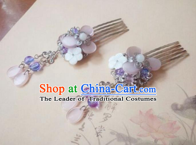 Traditional Handmade Chinese Ancient Classical Hair Accessories Purple Shell Tassel Hair Comb for Women