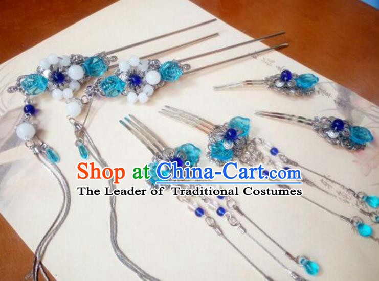 Traditional Handmade Chinese Ancient Classical Hair Accessories Hairpins Blue Coloured Glaze Hair Comb Headwear Complete Set for Women
