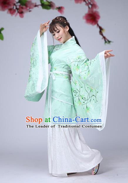 Traditional Chinese Han Dynasty Palace Lady Fairy Costume Green Embroidery Curve Bottom, Elegant Hanfu Clothing Chinese Ancient Princess Clothing for Women