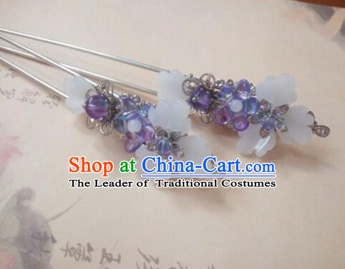 Traditional Handmade Chinese Ancient Classical Hanfu Hair Accessories Purple Step Shake, Princess Palace Lady Hairpins Hair Stick for Women