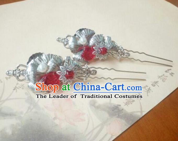Traditional Handmade Chinese Ancient Classical Hanfu Hair Accessories Red Beads Princess Palace Lady Hairpins Hair Stick for Women