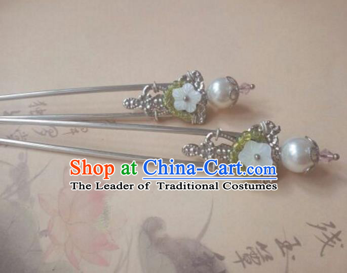 Traditional Handmade Chinese Ancient Classical Hanfu Hair Accessories Shell Pearl Princess Palace Lady Hairpins Hair Stick for Women