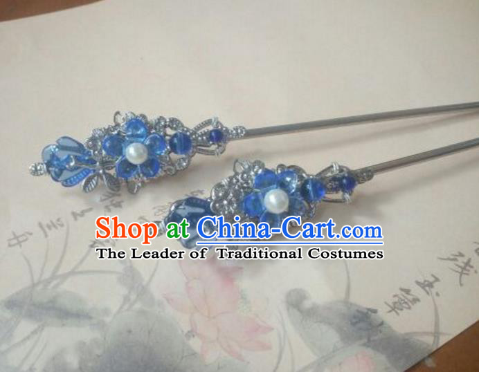 Traditional Handmade Chinese Ancient Classical Hanfu Hair Accessories Princess Palace Lady Blue Flower Hairpins Hair Stick for Women