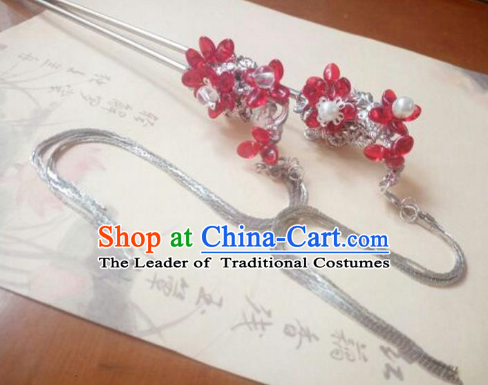 Traditional Handmade Chinese Ancient Classical Hanfu Hair Accessories Princess Palace Lady Tassel Red Hairpins Hair Stick for Women