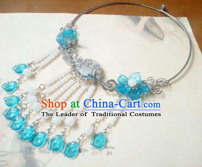 Traditional Handmade Chinese Ancient Classical Hanfu Accessories Necklace, Princess Palace Lady Blue Tassel Necklet Collar for Women