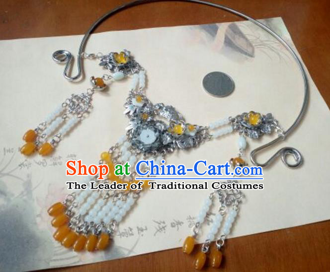 Traditional Handmade Chinese Ancient Classical Hanfu Accessories Necklace, Princess Palace Lady Yellow Beads Tassel Necklet Collar for Women