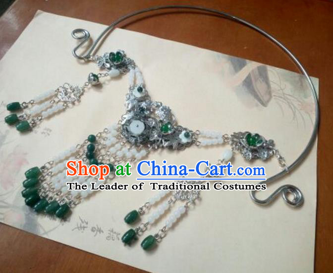 Traditional Handmade Chinese Ancient Classical Hanfu Accessories Necklace, Princess Palace Lady Green Beads Tassel Necklet Collar for Women