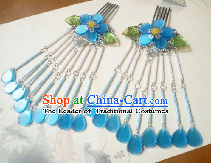 Traditional Handmade Chinese Ancient Classical Hanfu Hair Accessories Blue Hair Comb, Princess Palace Lady Tassel Hairpins for Women