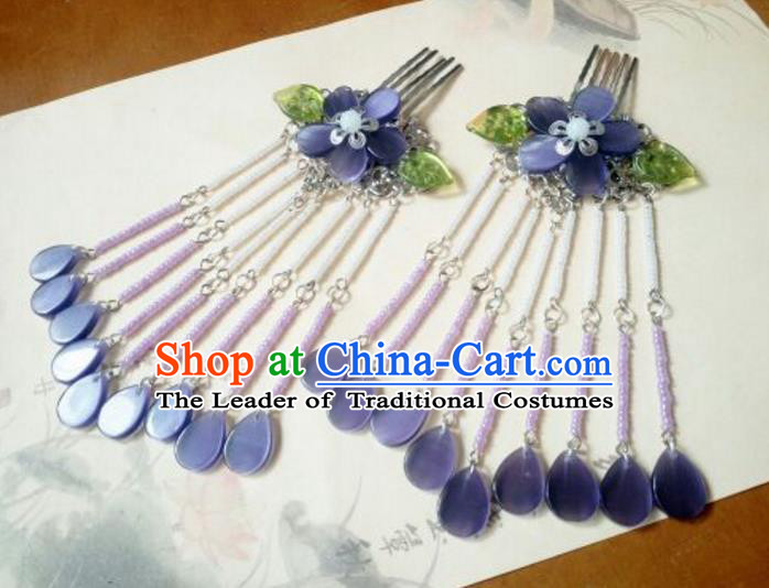 Traditional Handmade Chinese Ancient Classical Hanfu Hair Accessories Purple Hair Comb, Princess Palace Lady Tassel Hairpins for Women