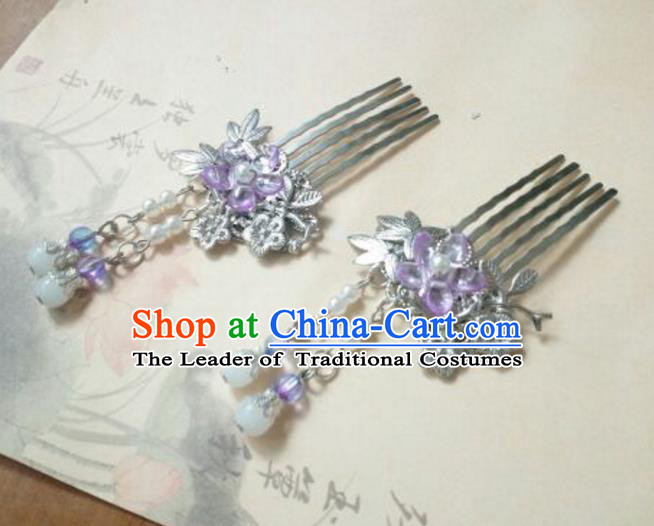 Traditional Handmade Chinese Ancient Classical Hanfu Hair Accessories Purple Flower Hair Comb, Princess Palace Lady Tassel Hairpins for Women