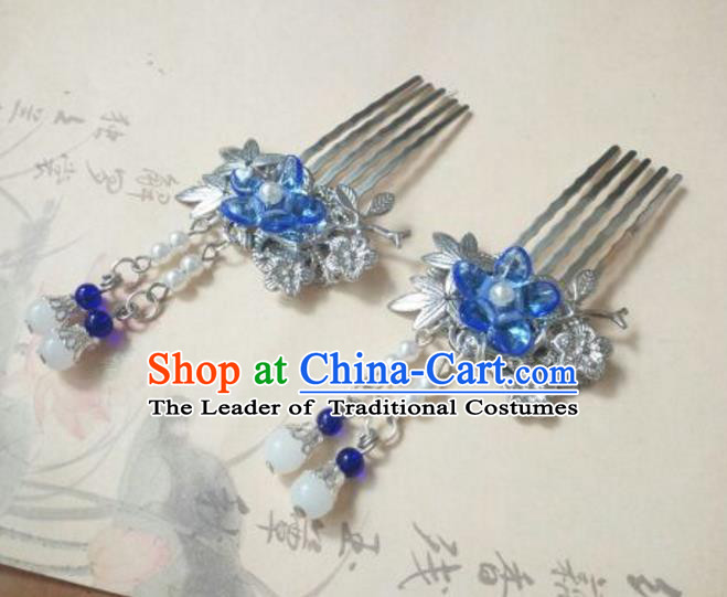 Traditional Handmade Chinese Ancient Classical Hanfu Hair Accessories Blue Flower Hair Comb, Princess Palace Lady Tassel Hairpins for Women